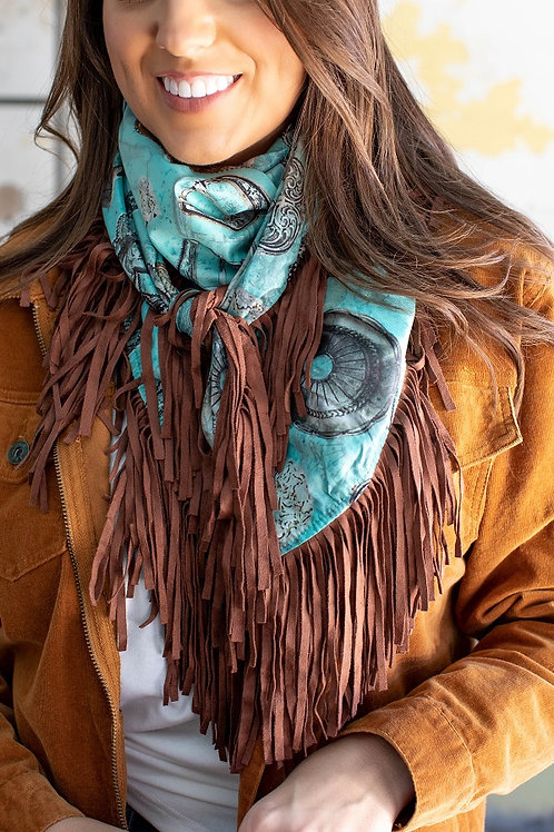 Turquoise buckle wild rag with brown fringe
