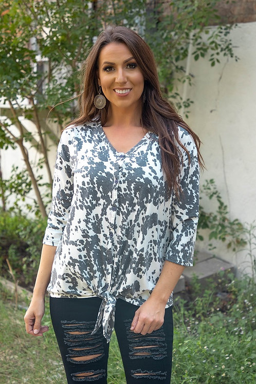 Cowhide print button down front tie top