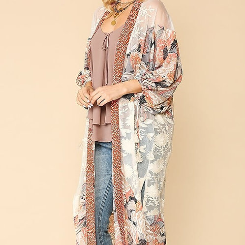 Floral and Crochet Soft Lace Kimono