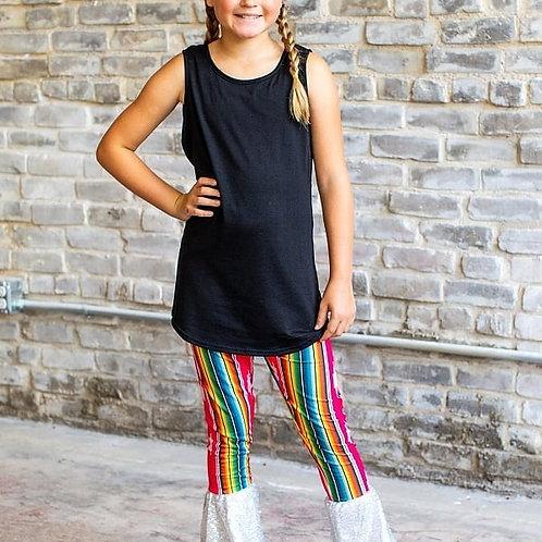 Kids Fuchsia Serape with sequin Ruffle Bottom Pant