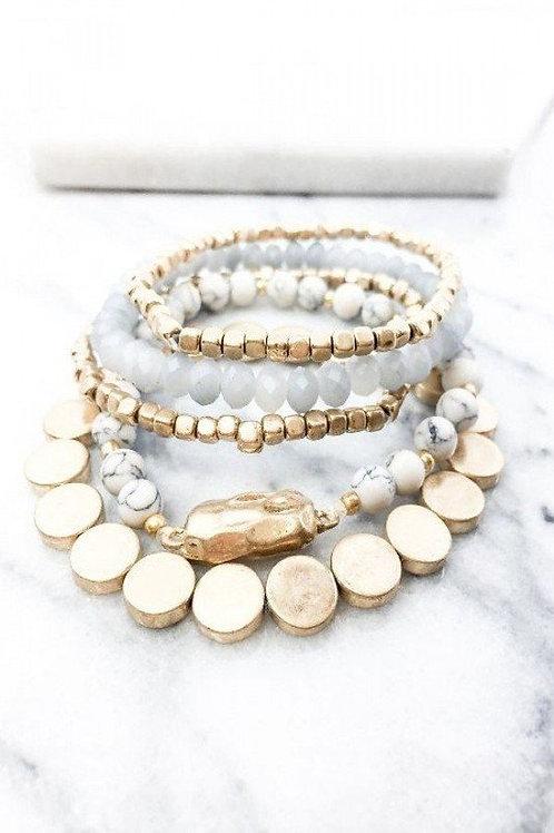 5 Strand Bracelet Semi Precious Stone Set Bracelet