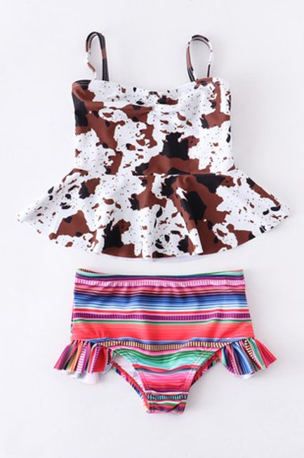Cow serape girls swimsuit