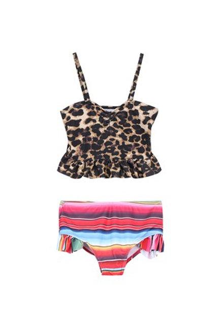 Leopard serape girls swimsuit