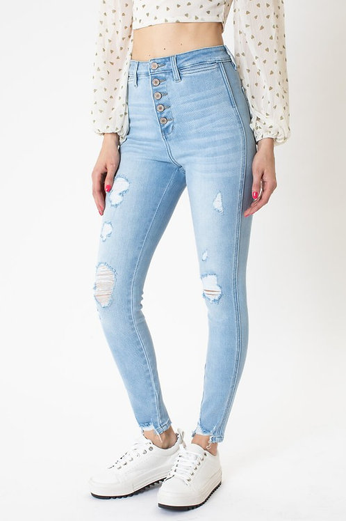 Kan Can Exposed Button High Rise Super Skinny