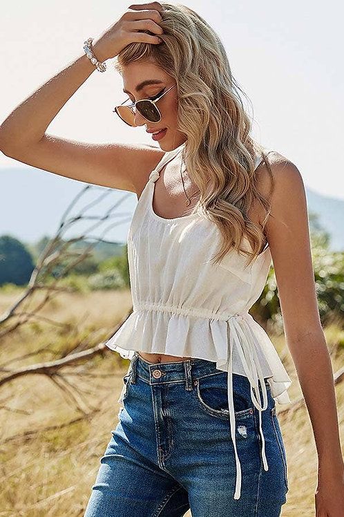 Solid Color Strap Cropped Tank Top