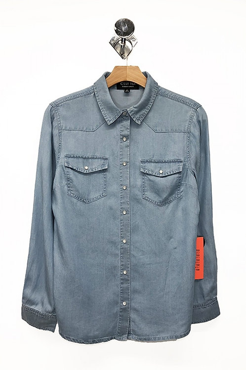 TENCEL SHIRT WITH PEARL BUTTON