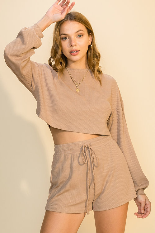 Lounge set with crop long sleeve balloon sleeve top and shorts