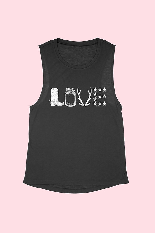 LOVE WESTERN COUNTRY MUSCLE TANK