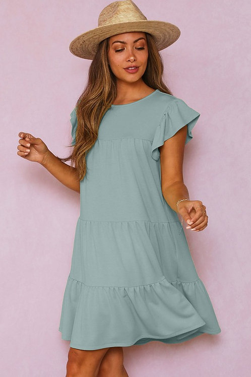 Short Sleeve Solid Knit Loose Fit Tiered Mini Dress with Ruffled Cap Sleeve & Ga