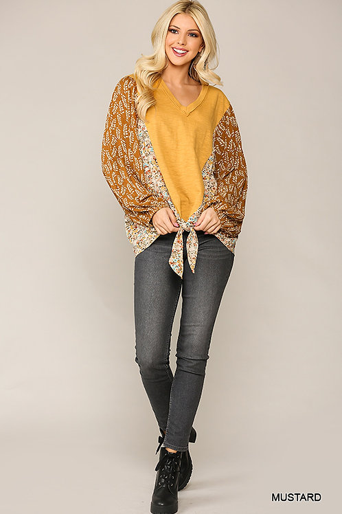 Knit and Print Mixed Front Tie Long Sleeve Top