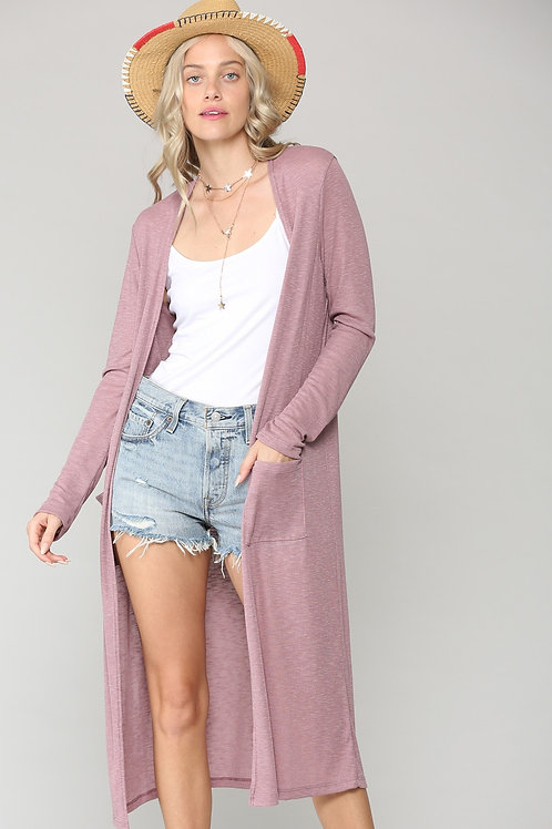 Light-weight ribbed long line cardigan with pockets