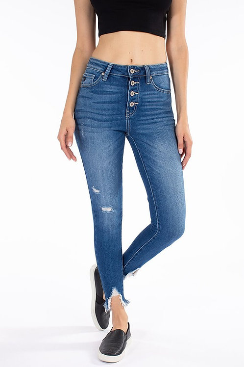 Kan Can High Rise Button Fly Ankle Skinny