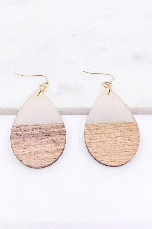 """Wood Teardrop Earrings Drop: 2.50"""""""