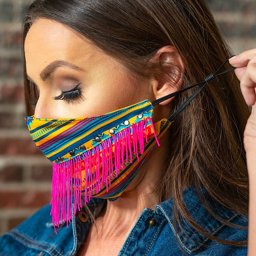 Aztec Mask With Fuchsia Mask with Neon Pink Fringe and Vintage Silver Studs