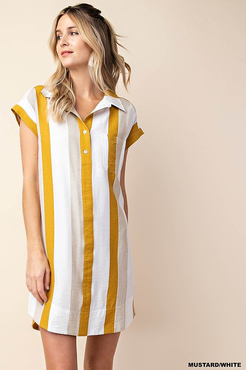 STRIPE SHIRT COLLAR TUNIC DRESS