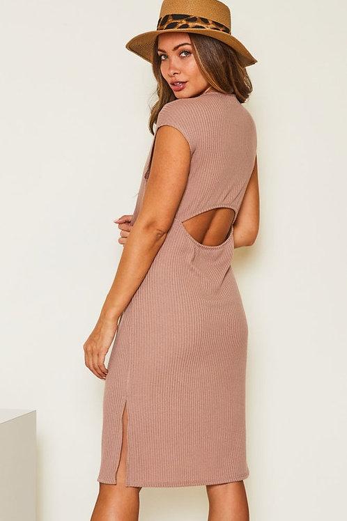 Short Sleeve Solid Rib Knit Open Back Cutout Dress