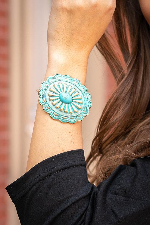 Patina Concho Hinged Bracelet With Turquoise Stone