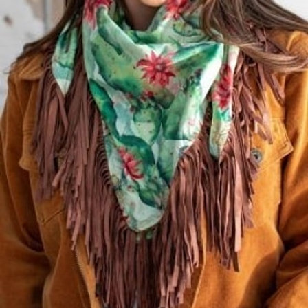 Cactus wild rag with brown fringe
