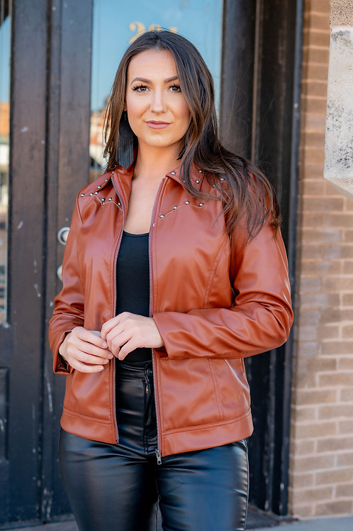 Dark Brown Leather Jacket with front and back Yoke Stud Detailing