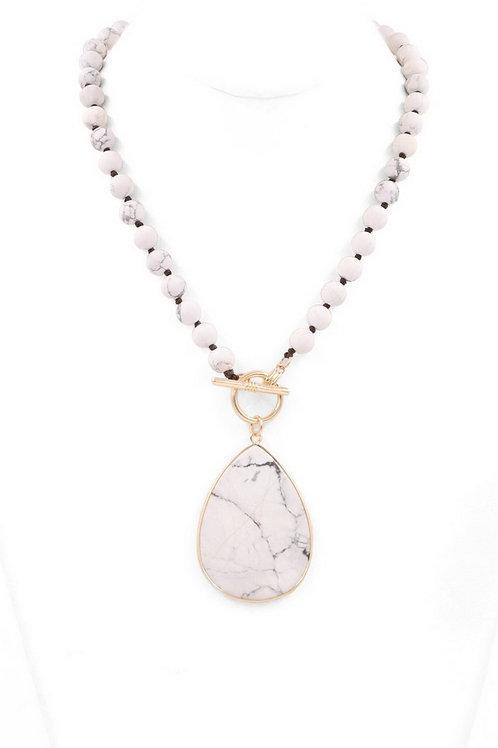 "Stone lariat teardrop pendant necklace Length: 18"""