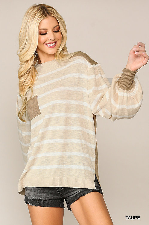 Textured Knit and Stripe Sweater Top
