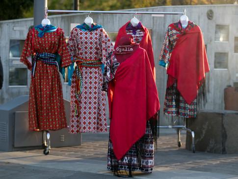 Traditional Yakama Nation regalia dresses at Yakima's YWCA Domestic Violence Candlelight Vigil Monday, Oct. 14, 2019, at Millennium Plaza in downtown Yakima, Wash.