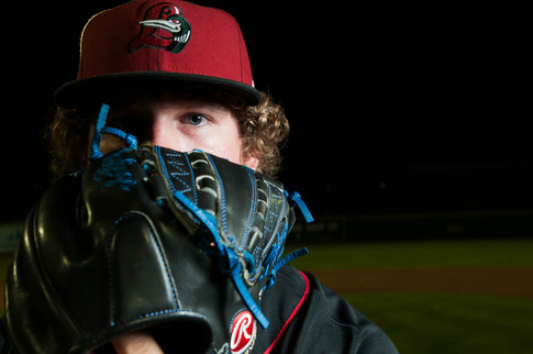 Great Lakes Loons pitcher Grant Holmes poses for a portrait on field Tuesday, July 28, 2015, at Dow Diamond in Midland, Mich.