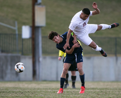 Toppenish High's Yahir Quintero, 10, collides into Selah High's Nicholas Hernandez in a CWAC match on Tuesday, March 26, 2019 at Karl Graf Stadium in Selah, Wash. Selah defeated Toppenish, 2-1.