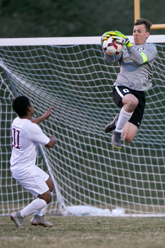 Selah High's Devin Bishop, goalie, makes a save against Toppenish in a CWAC match on Tuesday, March 26, 2019 at Karl Graf Stadium in Selah, Wash. Selah defeated Toppenish, 2-1.