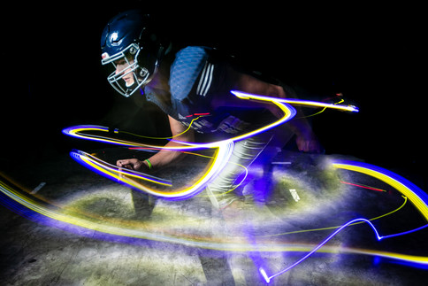 Selah High School's linebaker John Ray poses for a for a light painting portrait Tuesday, Aug. 13, 2019, in Yakima, Wash.