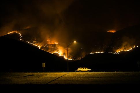 Evans Canyon Fire ravages the hillside along Interstate 82 Thursday, Sept. 3, 2020, in Ellensburg, Wash.