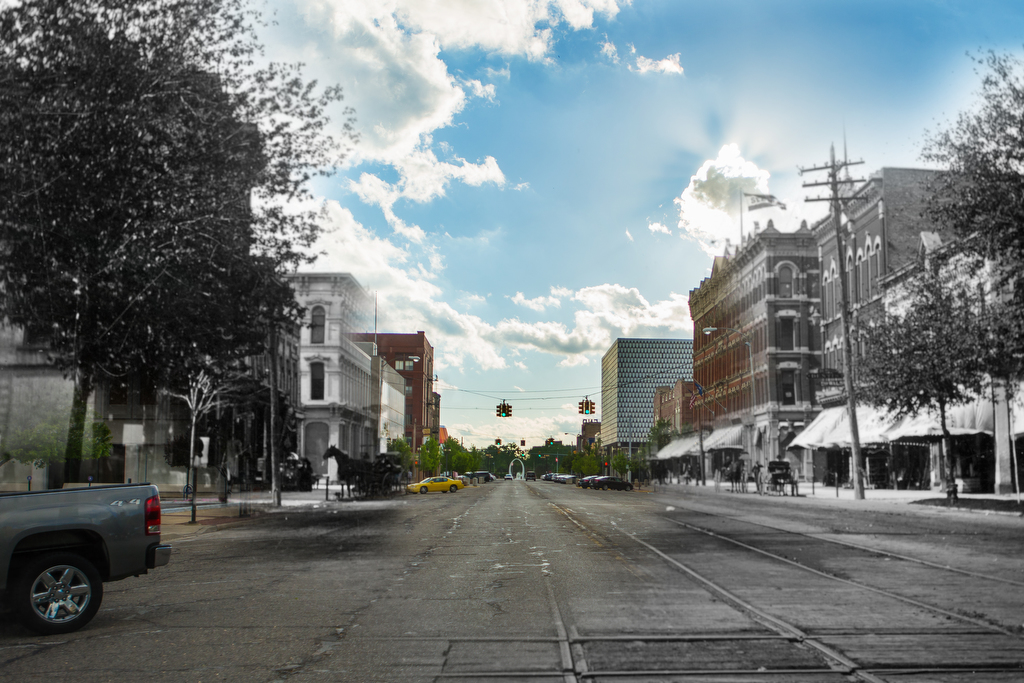 East view of Center Avenue