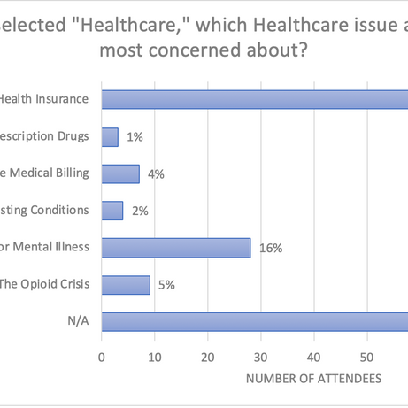 """If you selected """"Healthcare,"""" which Healthcare issue are you most concerned about?"""