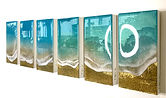 Original ocean paintings painted with resin and mixed media, turquoise and gold