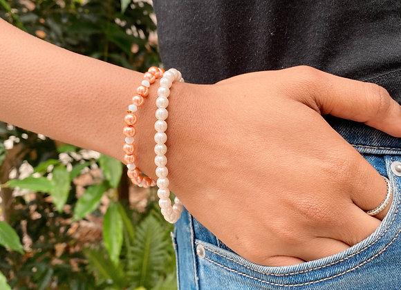 Pearls n Peach Bracelet
