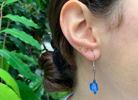 Deep Blue Bead Earrings