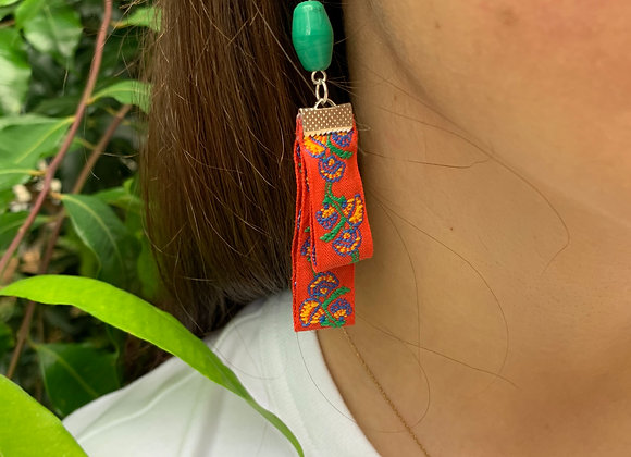 Red Lantern with Green Bead Earrings