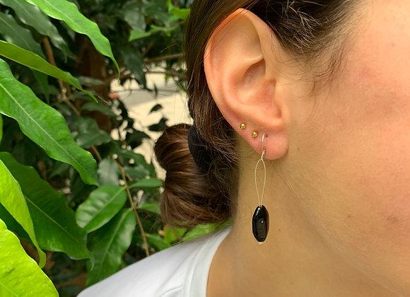 Shiny Oval Black Bead Earrings