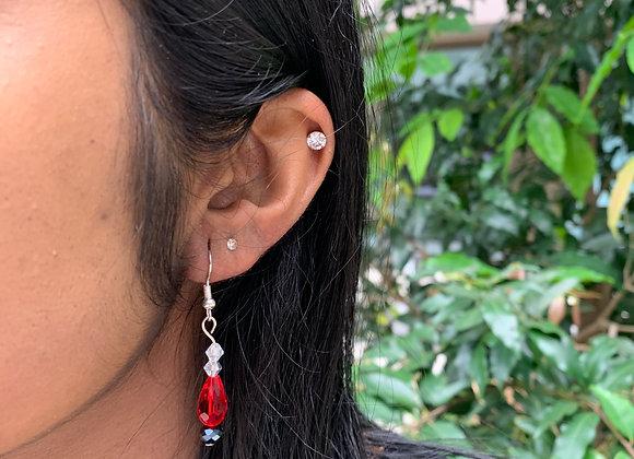 Scarlet Gem Bead Earrings