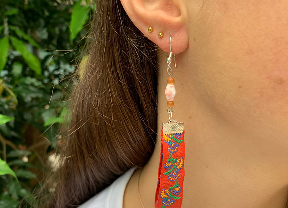 Red Lantern with Stone Earrings