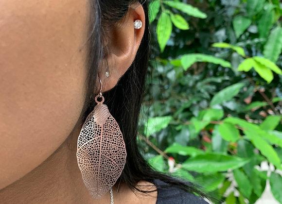 Classy Leaf on Web Earrings