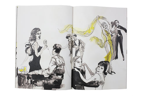 Illustrated print design book 1920s New York prohibition era