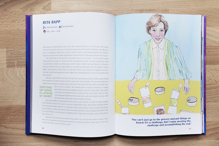 Rita Rapp double page spread illustrated book a galaxy of her own Libby Jackson