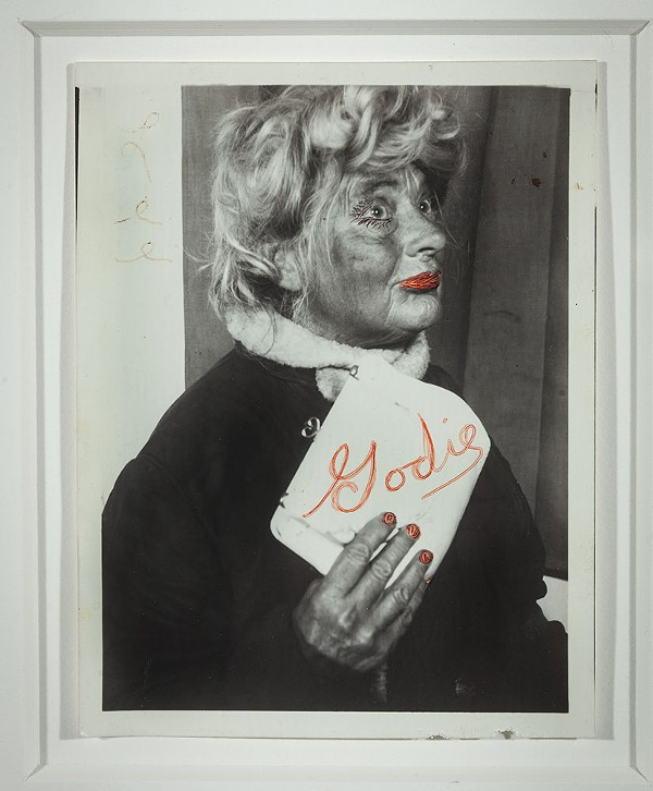 Lee Godie, Untitled (in white fur stole with heart-shaped cameo)