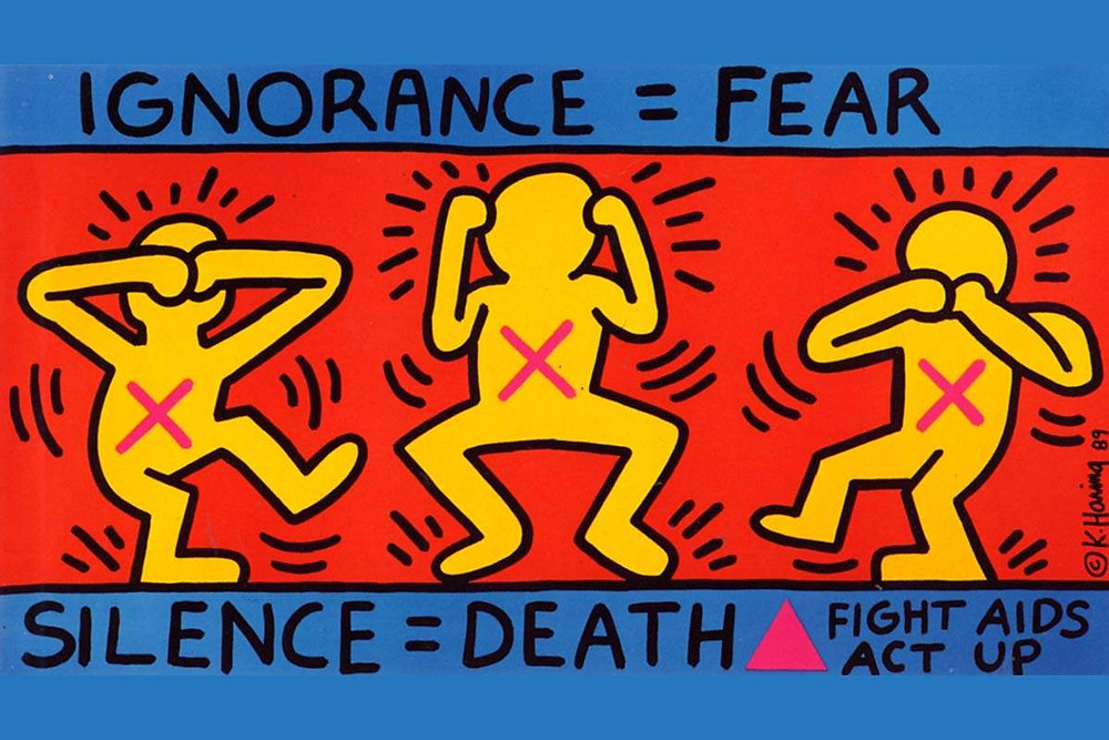 """Ignorance = Fear"" by Keith Haring (1989)"
