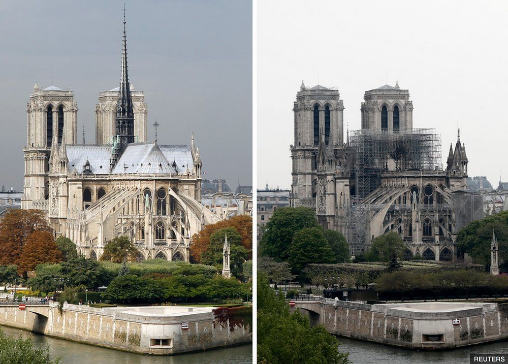 A comparison of the cathedral before and after the fire, which destroyed the roof and the famous spire.