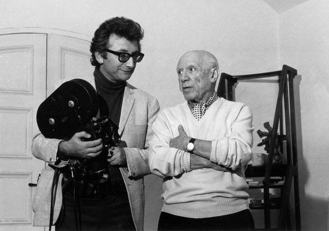 Lucien Clergue and Pablo Picasso at Notre-Dame-de-Vie at Mougins in 1969.