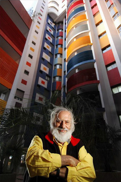 Yaacov Agam in front of a building he decorated in Tel Baruch, Tel Aviv, Israel