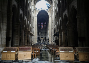 The interior of Notre Dame the following day after the fire had been fully extinguished.