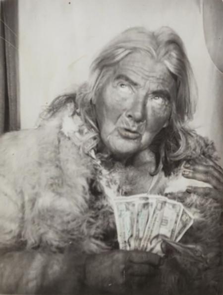"Lee Godie, ""Untitled (photo booth self-portrait),"" 1970s, gelatin silver print, 4 3/4 x 3 3/4"""